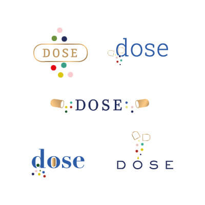 Dose logo sketches color